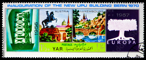Obraz na plátně Postage stamp printed in Yemen shows 1956/1957, U