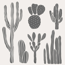 Hand Drawn Desert Cactus Set. Vintage, Botanical Vector Illustrations.
