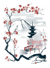 Pagoda And Red Bridge Under The Mountain Framed By Sakura Branches. Vector Drawing In Traditional Japanese Style Sumi-e.