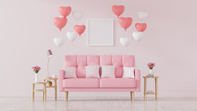 Pink Sofa Decorated With Heart...