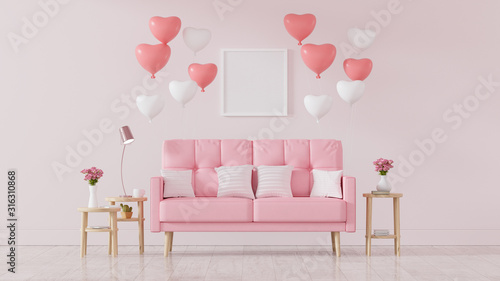 Fototapeta Pink sofa decorated with heart balloons, valentines day, Vintage Style, 3d render - Illustration obraz