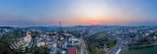 Da Lat Or Dalat, Vietnam Evening Sunset Panorama Including City Center, Mini Eiffel Tower, Alpine Lake, And Mountains
