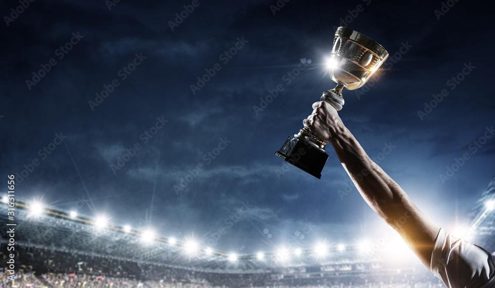 Fototapeta Celebrating great victory. Mixed media