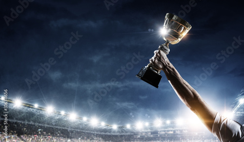 Fotografiet Celebrating great victory. Mixed media