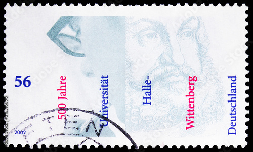 Fotografia Postage stamp printed in Germany shows University Halle-Wittenberg, 500th Anniv