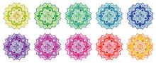 Set Of Mandala Patterns In Many Colors
