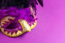 Carnivale Mask On A Purple Bac...
