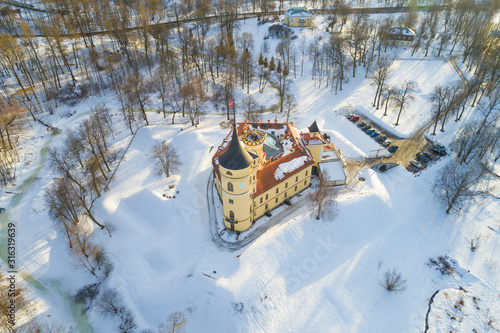 Photo Top view of the ancient Bip Castle (Mariental) on a sunny winter day (aerial photography)