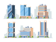 Skyscrapers, High-rise Buildings Colorful Vector Illustrations Set