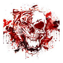 Colored Skull With Tiger Isola...