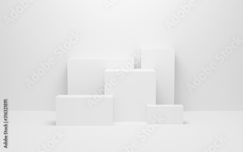 Leinwand Poster abstract white light on wall background texture with geometric shape