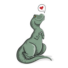 Sitting Cute Tyrannosaur Rex With Speech Bubble And Hearts. Hand Drawn Illustration Of T-rex In Cartoons Style. Dino Tyrannosaurus On White Background Isolated. Funny Dinosaur.