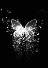 抽象的な蝶から粒子が...