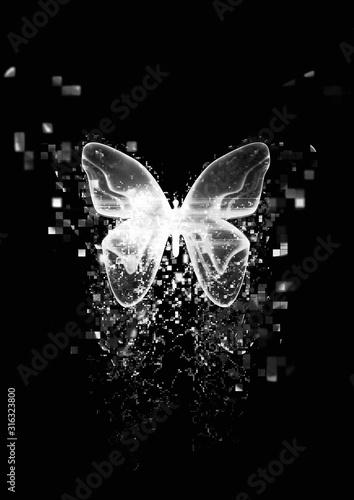 Cząsteczki rozpraszają się z abstrakcyjnych motyli
