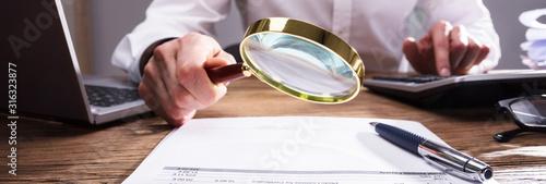 Obraz na plátně Businessperson Analyzing Bill
