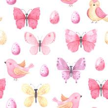 Watercolor Butterflies And Bir...