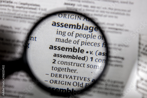 The word or phrase assemble in a dictionary. Fototapet