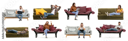 Fototapeta Collage with young people resting on sofas against white background