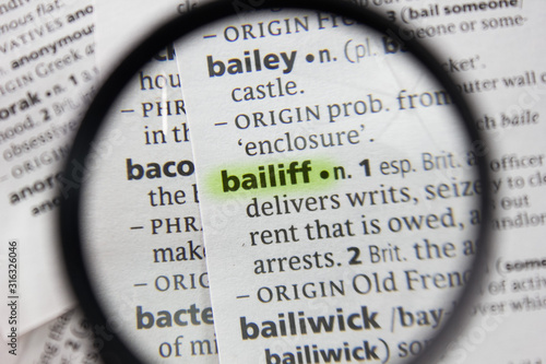 The word or phrase bailiff in a dictionary. Canvas Print