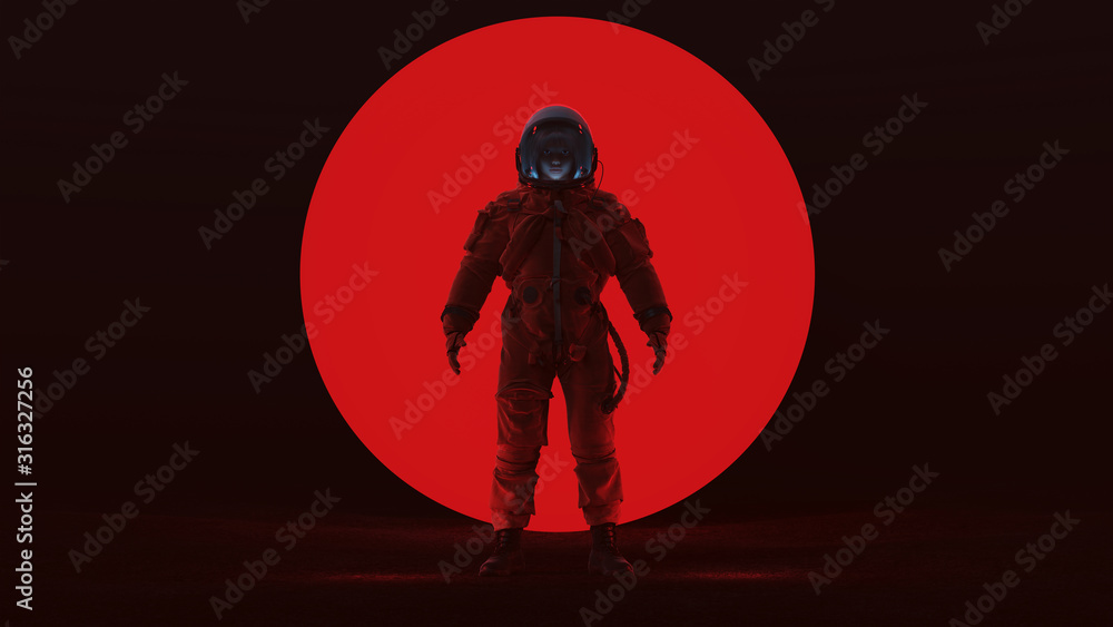 Fototapeta Astronaut in a Red Advanced Crew Escape Space Suit Standing in a Alien Void with a Clear Visor Woman's Face with a Big Red Alien Sphere in a Dark foggy void Front View 3d Illustration 3d render