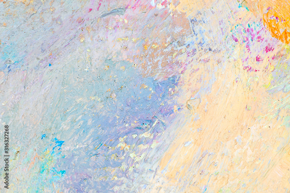 Fototapeta Original abstract oil painting background. Blue and yellow texture. Fragment of artwork. Close-up detail. Impressionism. Modern art. Contemporary art. Grunge background.