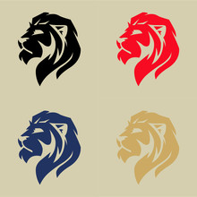 Lion Head Logo Set, Vector Illustration