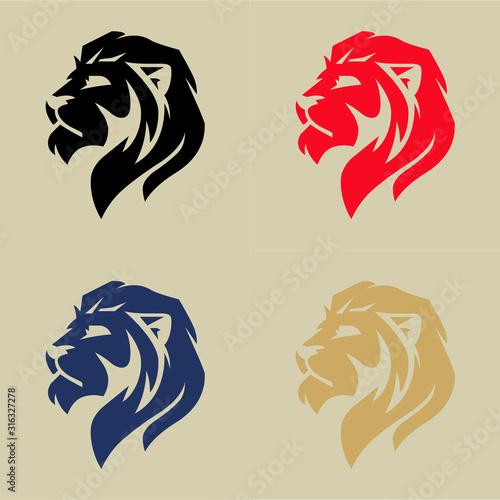 Fotomural Lion head logo set, vector illustration