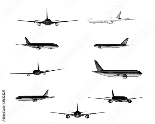 A set silhouettes planes on a white background. Collection of passenger aircrafts ideal for travel,flight,transport,business or commercial designs isolated on white