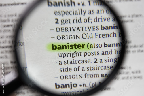 The word or phrase banister in a dictionary. Wallpaper Mural
