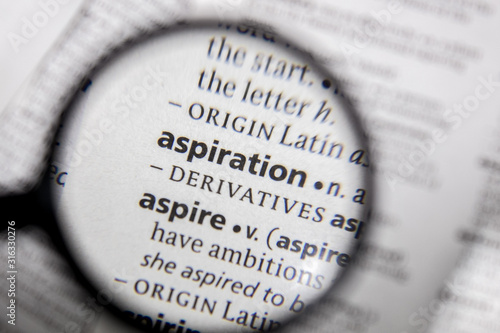 Photo The word or phrase aspiration in a dictionary.