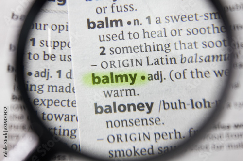 Photo The word or phrase balmy in a dictionary.