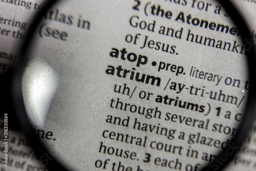 The word or phrase atrium in a dictionary. Wallpaper Mural