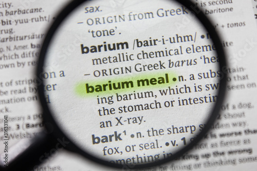 Photo The word or phrase barium meal in a dictionary.