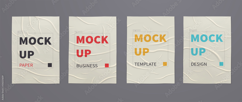 Fototapeta Wrinkled wet posters mockups of crumpled sheets of paper. Set of advertising templates for design.