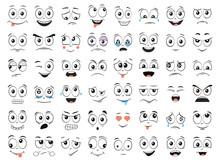 Cartoon Faces Set. Angry, Laug...