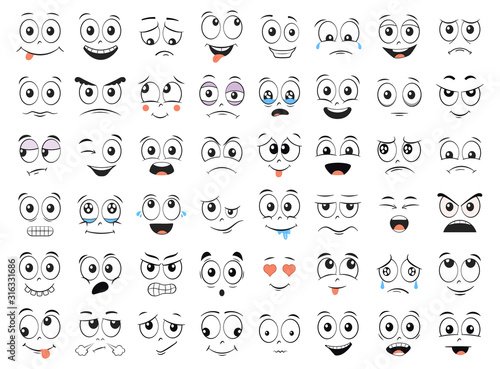 Cartoon faces set. Angry, laughing, smiling, crying, scared and other expressions. Vector illustration.