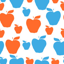 Vector Seamless Background For Seasonal New York City Cider Festival. Big  Apple -symbol Of New York City. Colors Of New York - Dark Blue, Orange, Dark Red.