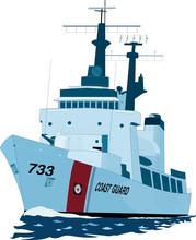 Coast Guard Cutter Vector Illustration