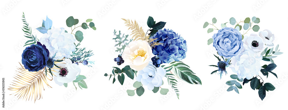 Fototapeta Classic blue, white rose, white hydrangea, ranunculus, anemone, thistle flowers, greenery and eucalyptus