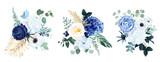 Fototapeta Kwiaty - Classic blue, white rose, white hydrangea, ranunculus, anemone, thistle flowers, greenery and eucalyptus