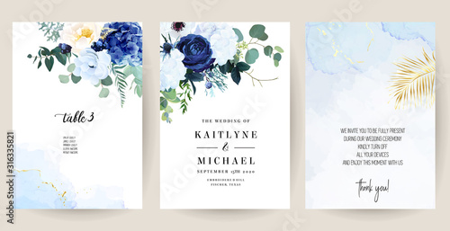 Photo Classic blue, white rose, white hydrangea, ranunculus, anemone, thistle flowers