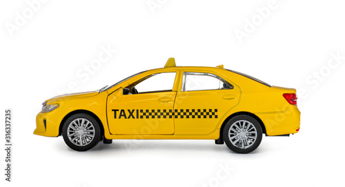 Vászonkép Yellow taxi car model isolated on white