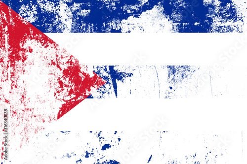 flag of cuba with texture. template for design Canvas Print