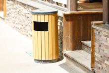 Wooden Litter Bin Outdoors, Trash Bin In Public Area. Wooden Stairs