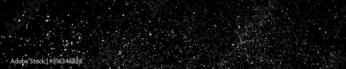 White Grainy Texture On Black. Panoramic Background. Wide Horizontal Long Banner For Site. Dust Overlay. Light Coloured Noise Granules. Snow Vector Elements. Illustration, EPS 10.