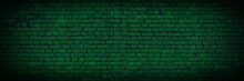 Old Green Texture Of Brick Wall. Old Green Brick Building Surface. Wall With Cracked Structure Grunge Background. Toned Wall Background. Abstract Web Banner.