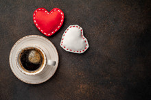 Coffee And Red Hearts For Vale...