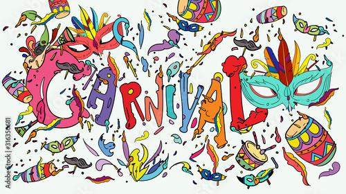 Photo  vector doodle illustration of mardi gras