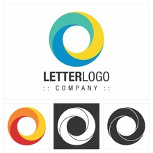 Letter O (Spiral, Circle) Vector Symbol Company Logo (Logotype). Concentric Color Gradient Three Elements (Shapes) Style Icon Illustration. Elegant And Modern Identity Concept Design Idea Template (Br