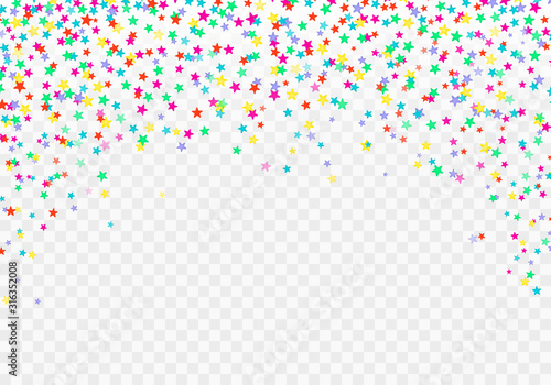 Festive colorful stars confetti background. Vector texture for holidays, postcards, websites, birthday and children's parties. Colorful confetti isolated. Ecstatic vector illustration.